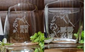 お店のロゴ入りグラス2個(角or丸)&ランチョンマット2枚
