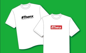 オリジナル#ThanxロゴTシャツ(黒・赤)セット