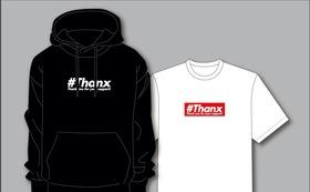 オリジナル#Thanxプルオーバーパーカー(ブラック)&Tシャツ(ホワイト)