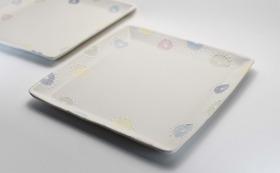 陶工房彩白 白磁角皿 2点セット 桐箱入