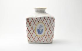 三々窯 陶器花瓶 角瓶