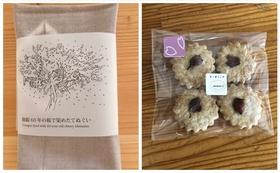 お礼のお手紙と桜の枝で染めた手ぬぐい(茶色)&桜のクッキーセット
