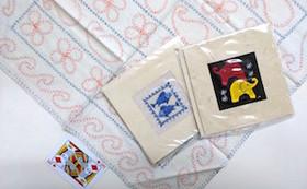 【刺し子製品第2弾!】手作りカード2枚と布巾