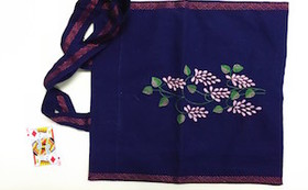 【刺し子製品第8弾!】手提げ(紫) 両面刺繍