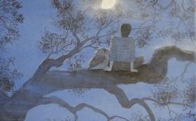 【数量限定1個】森谷明子の既刊の絵本「あたたい木」(校正出版社)原画のための習作1点