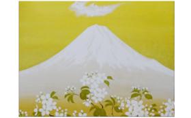 【数量限定1個】F20日本画作品「富士山と山桜」1点