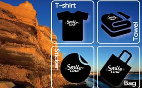 限定!Smile Link オリジナルグッズ(フェイスタオル、Tシャツ、バッグ、ステッカー)&お礼状
