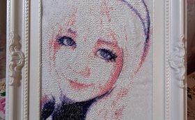お好きな写真のカラー刺繍(大)