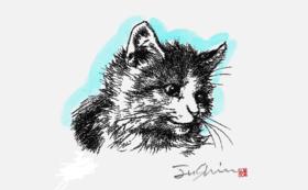 猫の版画(子猫)