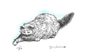 【額付き】猫の版画(好奇心)
