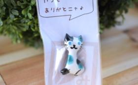 七宝焼きの猫ブローチ