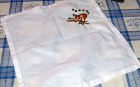 お母さんからの手紙&障がいを持つみんなが作ったワオキツネザル刺繍のランチョンマット