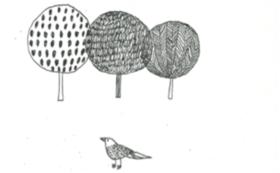 謄写版作品「絵と木工のトリノコ作品」