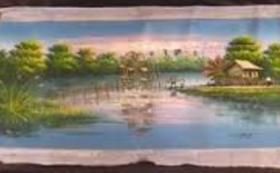 カンボジアの風景を描いた油絵をお送りします