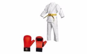 全空連指定拳サポーターとアディダス製空手着をセットでお送りします