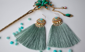 【51%OFF】Amazonite Feather tassel Amulet早期購入割引】