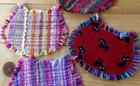 【数量限定_10個】手作り「さをり織り」ネコースター