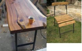 鉄脚のテーブルセット