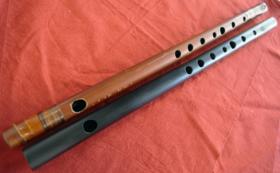 【新素材篠笛、実質無料!】天然煤竹天地巻、吹き比べ2管セット