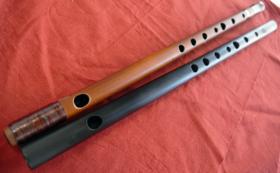 【新素材篠笛、実質無料!】天然煤竹天地桜樺巻、吹き比べ2管セット