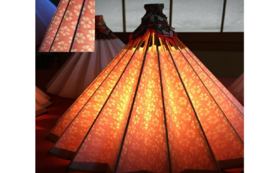 和紙の風合いが魅力の吊るし型和傘ランプシェード④
