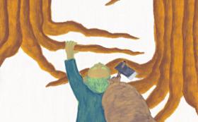 「浄安くわは」の絵本と原画(「山を這い上がる浄安」)