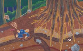 「浄安くわは」の絵本と原画(「三本杉の根元を掘る」)