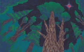 「浄安くわは」の絵本と原画(「夜闇の中の三本杉」)
