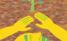 「浄安くわは」の絵本と原画(「ヤドメの木を植える」)