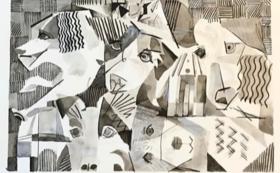 うちの子の抽象画 A3サイズ(額装付)