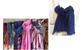 【カンボジアシルク製品を購入して応援】カンボジアシルク製のラッフルスカーフをお届け!