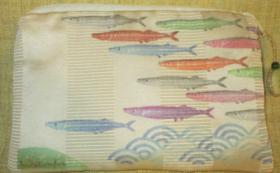 秋刀魚&波ポーチ (お好きな柄でもお作り致します。)