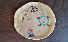 Dコース②:Subikiawa食器店 手づくり絵皿3枚セット、木箱付き (10点)