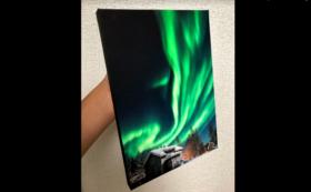 【限定10枚】横田裕市氏制作、特別和紙によるオーロラ作品A4プリント木製パネル