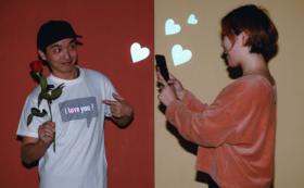 フラッシュ撮影でオリジナルメッセージが浮かぶ!吹き出しT シャツ