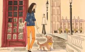 ペットと世界散歩イラストレーション