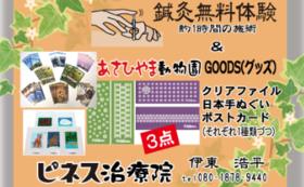 鍼灸無料体験チケット&旭山動物園グッズ3点(クリアファイル・日本てぬぐい・ポストカード)